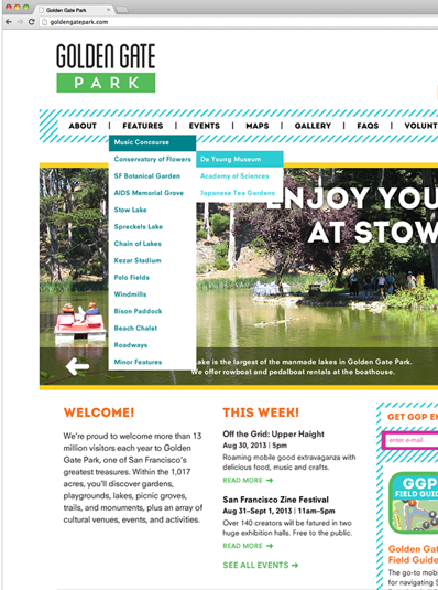 Golden Gate Park Website Design